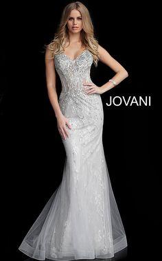 Jovani Prom 63673 Silver Embellished V Neck Mermaid Jovani Dress 63673 Jovani Wedding Dresses, Jovani Dresses, Silver Prom Dresses, Wedding Gowns, Mermaid Evening Dresses, Mermaid Gown, Silver Evening Gowns, Lace Mermaid, Pageant Dresses