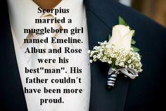 Scorpius se casó con una hija de Muggles llamada Emeline. Albus y Rose fueron los padrinos de bodas. Su padre no podía haber estado más orgulloso. Asked by: anon