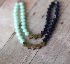 Mint Indigo Blue Necklace  Swarovski Crystal Statement Piece  Double Strand  Antiqued Brass  Wedding  Gift Box by MySelvagedLife on Etsy https://www.etsy.com/listing/129514805/mint-indigo-blue-necklace-swarovski