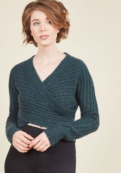 Wouldn't Knit Be Nice? Sweater in Teal. Take some time for stylish speculation…
