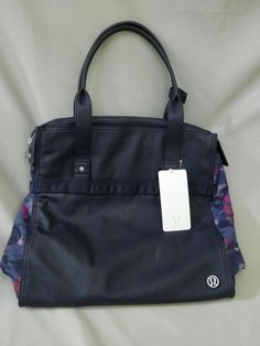 d33d3ff836ff Lululemon Bag Tote Follow Your Bliss Yoga Mat Carrier Gym Navy Print New Tag