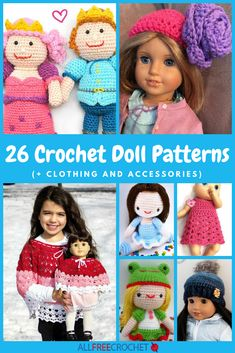 Cute Clothes Patterns - 26 Crochet Doll Patterns (+ Clothing and Accessories) Crochet Dolls Free Patterns, Doll Dress Patterns, All Free Crochet, Crochet Doll Pattern, Cute Crochet, Beautiful Crochet, Crochet Toys, Clothing Patterns, Crochet Baby