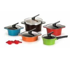 Multipots Kitchen Alumite Ceramic Pots Cooking Cook Die Casting Ceramic Coating Kitchenware 5 Set *** Check this awesome product by going to the link at the image.