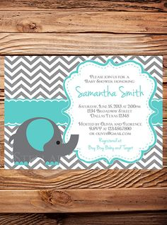Teal Elephant Baby Shower Invitation Elephant by StellarDesignsPro
