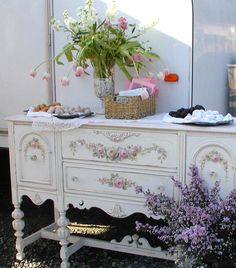 French buffet with hand painted roses...