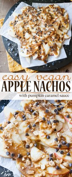 Easy Vegan Apple Nachos with Pumpkin Caramel | www.veggiesdontbite.com | #vegan #glutenfree #wholefoods #plantbased via @veggiesdontbite