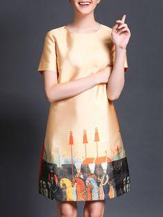 Printed/Dyed Color-Block Mini Dress