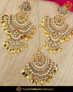2e4368061 Punjabi Traditional Jewellery · Bodysuits · Wedding Wear · Keeping the  tradition alive featured:- Pippal Patti Pearl Earrings Tika Set You may also