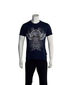 JUST CAVALLI JUST CAVALLI MEN HAWK CREST T-SHIRT NAVY'. #justcavalli #cloth #t-shirts