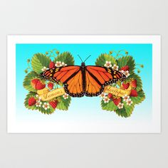 FREE worldwide shipping - hooray!!! Monarch Butterfly with Strawberries on Aqua Art Print by Patricia Shea Designs on #Society6 (does NOT apply to framed prints, stretched canvases and pillows WITH inserts) with this link: http://society6.com/PatriciaSheaDesigns?promo=8a93eb