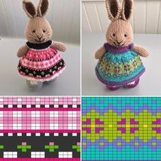 Tea Party Dress und African Violets Dress … Details und Charts auf Ravelry … Link im Profil … Source by knitspinner . Knitting Charts, Knitting Stitches, Baby Knitting, Knitting Patterns, Crochet Patterns, Knitted Bunnies, Knitted Animals, Knitted Dolls, Knit Or Crochet