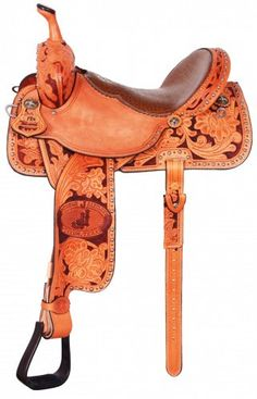 Double J Pro Barrel Racer featuring our Texas Poppy Tooling & a rust dyed background.