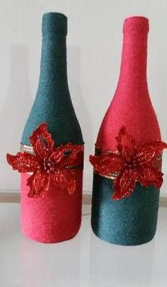 Image result for garrafas de vidro decoradas natalinas com fios de lã