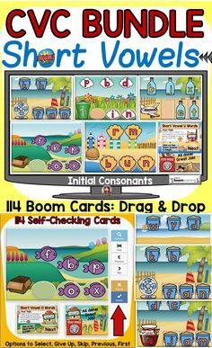 This bundle features 114 Boom Digital Cards on identifying the beginning sounds (initial consonants) of CVC short vowel (a,e,i,o,u) words. Students will drag and drop the correct letter tile (initial consonant) to spell and read CVC short vowel words. Letter Recognition, Letter Tracing, Social Studies Resources, Teaching Resources, Phonemic Awareness Activities, Word F, Alphabet Coloring Pages, Teaching Phonics, English Reading