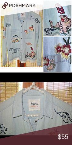 3e6310da ANTHROPOLOGIE HOLDING HORSES Size XS Denim w Shirt Gently Worn EUC  Beautiful Floral Embroidery Embellished w