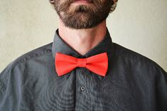 Mens Bowtie in Coral Pre Tied and Adjustable by AmandaJoHandmade, $20.00