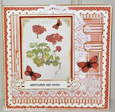 Here is another card made from the Siri's Kitchen collection. This time the flower Geranium is in focus on the front as well as on the inside of the card.Thanks for stopping by the blog today,Marianne.Pion products:Siri's Kitchen – Images PD5311Siri's Kitchen – Red currants…