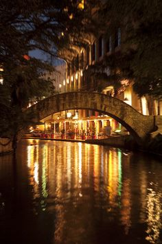 San Antonio Riverwalk at night! This is one of the most beautiful places to be for romance! 3 Weeks :)