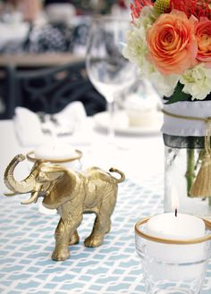 A posh, glam, and jungle inspired safari baby shower. I start with gold spray painted animals and built on my theme using sea foam, ivory and black. Fancy Baby Shower, Boho Baby Shower, Gold Baby Showers, Baby Shower Parties, Baby Shower Themes, Baby Boy Shower, Wedding Showers, Shower Ideas, Baby Shower Centerpieces
