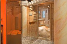 The sauna at Parkhotel Beau Site Zermatt Zermatt, Sauna, Alcove, Divider, Bathtub, Relax, Wellness, Room, Furniture