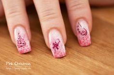 nail art - pink christmas