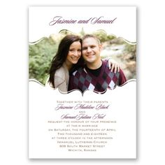 Sophisticated Frame Wedding Invitations with Free Response Postcards at Ann's Bridal Bargains