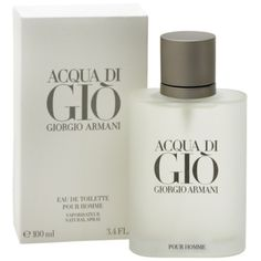 Aqua Di Gio - Armani - my favorite men's cologne. Johnny's been hooked on it ever since I bought it for him 22 years ago. Sexy, light sent for men