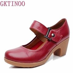 f747ea0c93 Spring Autumn Shoes Women Genuine Leather Pumps Round Toe Platform Shallow  Mouth Shoes