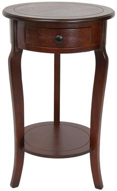Oriental Furniture Round End Table with Drawer in Cherry