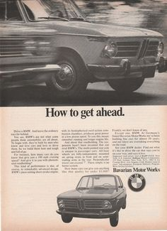 1970 BMW - How to get ahead - vintage ad