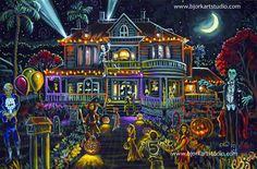 "Bat-Mountain Studio PRINT 10"" Halloween Fantasy Halloween Haunted Party House"