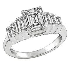 2.01 Carat GIA Cert Emerald Cut Diamond Gold Engagement Ring 1