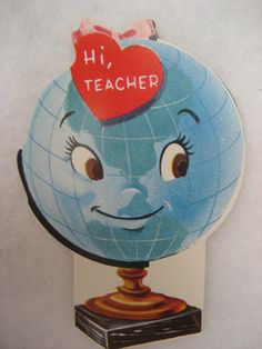 Vintage Valentine Card Anthropomorphic Cute Face Atlas World Globe Pink Bow New | eBay