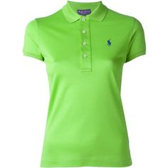 Ralph Lauren Black Embroidered Logo Polo Shirt (£145) ❤ liked on Polyvore featuring tops, green, polo shirts, green top, ralph lauren black label and green polo shirts