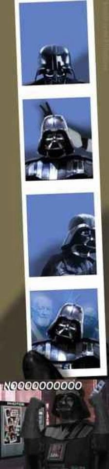 Darth Vader, photobombed. Even he can't e-vader his past.