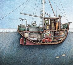 """This is a traditional wooden troller working in fine weather on open water with quite a few lovely dressed king salmon below decks. The print shows the fo'c's'le, engine room, fish hold, water tanks, rigging, the wheelhouse and galley and the gurdies, or the hydraulic winches used by the fishermen to bring their fish alongside where they can hook them aboard - named for their resemblance to the """"hurdy-gurdy"""", type of a crank-operated violin popular among street and car..."""
