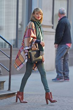 Winter layering with a blanket cape.