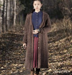 Wool Coat  Long coat autumn / winter  Long sleeves  by zenforet