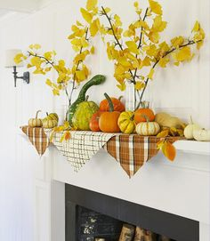 Use Your Gourds: To establish the palette for a fireplace display that can stay up until turkey time, drape a trio of pinked printed-fabric squares atop the mantel, and keep them in position with an assortment of colorful gourds and leaves. Add height with reusable silk ginkgo branches (or the real thing) in glass cylinder vases.