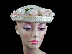 Vintage 30s Straw Hat with Satin Flowers by littlebitvintage2, $8.99