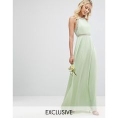 TFNC WEDDING Embellished Neck Maxi Dress ($110) ❤ liked on Polyvore featuring dresses, wedding dresses and green