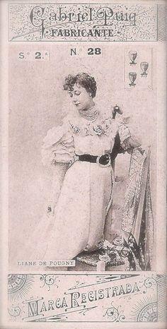 Liane de Pougy Famous Belle Époque Parisian French Courtesan Lot of 2 Original Antique 1900s Spanish Gabriel Puig RARE Collector Trade Cards