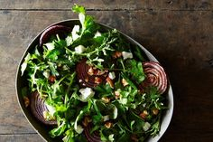 Yotam Ottolenghi's Roasted Onions with Walnut Salsa roasted red onion salad with arugula Gluten Free Recipes, Healthy Recipes, Yummy Recipes, Epicurious Recipes, Healthy Salads, Vegetable Recipes, Healthy Foods, Roasted Winter Vegetables, Sauteed Zucchini