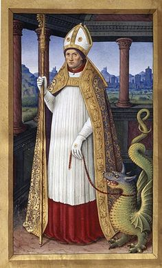 Jean Bourdichon, Saint Lifard with a dragon, Grandes Heures d'Anne de Bretagne (1503-1508)