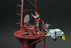 """Skymark maintenance 1/35 scale. Converted & painted by Nicolas """"Juan"""" Rouanet. The buoy and the figure are from Industria Mechanika developed from Ian McQue's concepts. #diorama"""
