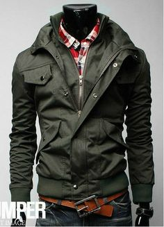 2013 new design men's fashion jackets high quality multi pocket coat man slim draw string outwear $39.00