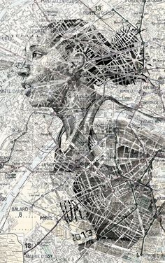 In an intriguing blend of cartography and illustration, UK artist Ed Fairburn uses maps as his canvases for stunning ink and pencil portraits. Pencil Portrait, Portrait Art, Portraits, Ed Fairburn, Gcse Art Sketchbook, A Level Sketchbook, Illustration Art, Illustrations, Graphisches Design