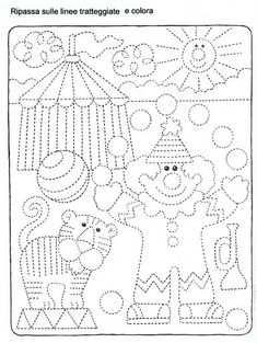 Schede_didattiche_Carnevale Preschool Circus, Preschool Writing, Drawing For Kids, Art For Kids, Crafts For Kids, Tracing Worksheets, Preschool Worksheets, Pre Writing, Kids Writing