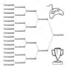 Blank video game tournament blank bracket - vector file with doodle style