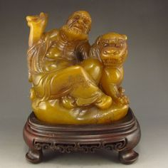 Hand Carved Chinese Natural Shoushan Stone Statue w Arhat & Foo Dog